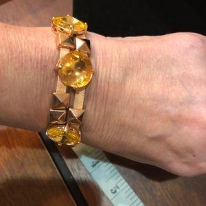 J. Crew Bracelet. Gold tone, yellow stone & Ribbon